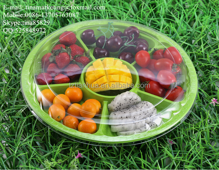 6 Compartment Disposable Blister Plastic Round Fruit Container/ Vegetable Container/ Salad Packaging Box for Take Out