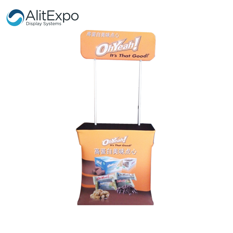 New Printing Promotional Advertising Supermarket Tension Fabric Display Stand Counter podium