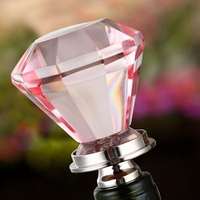 Pink crystal wine bottle stopper
