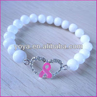 BRC0029 2013 Pink ribbon bracelet breast cancer awareness bracelet