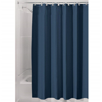 Eco-Friendly Pure Color Black Folding Resist Mildew Shower Curtain