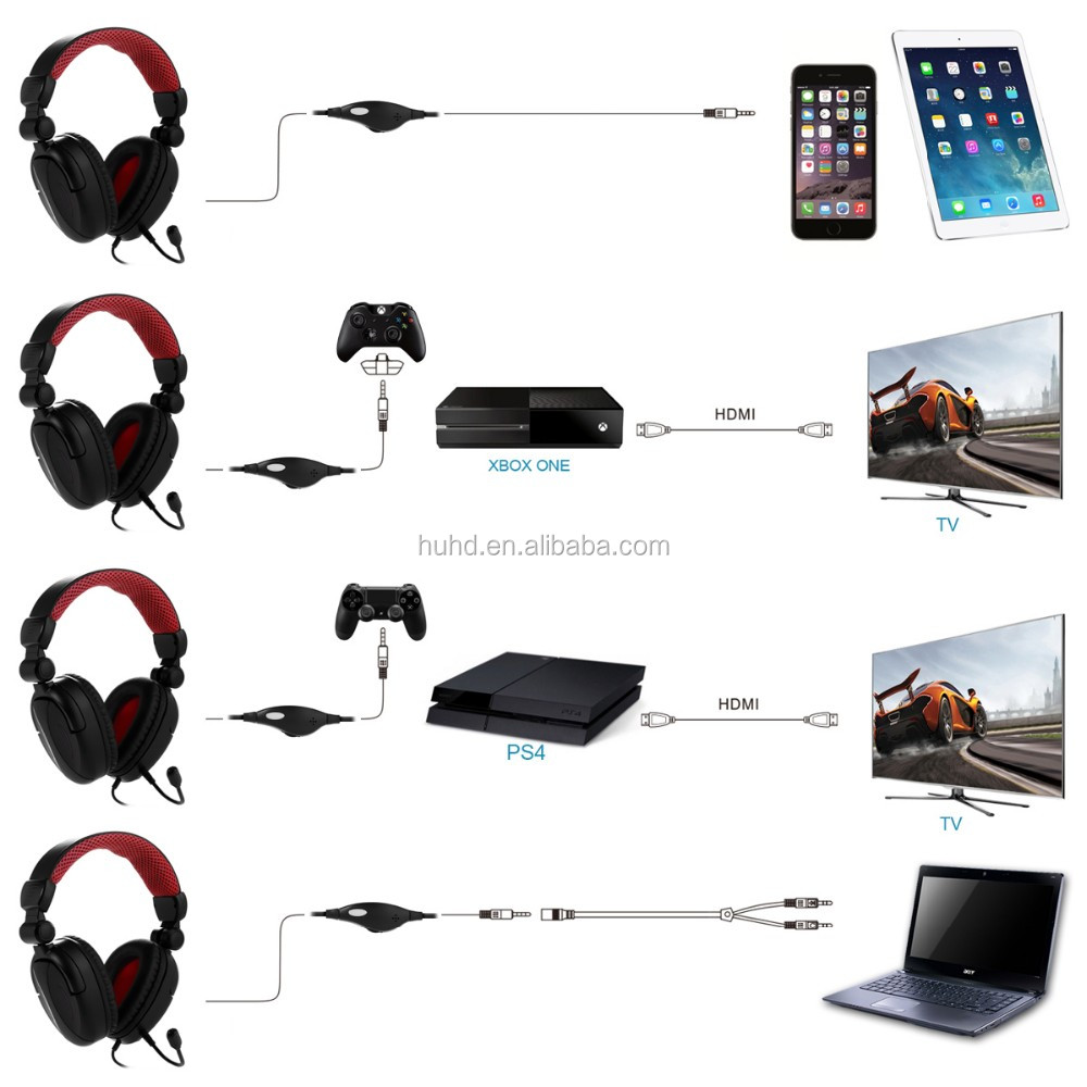 Wired Foldable overhead headphone tablet computer gaming headset for ps4 xbox one with removable mic