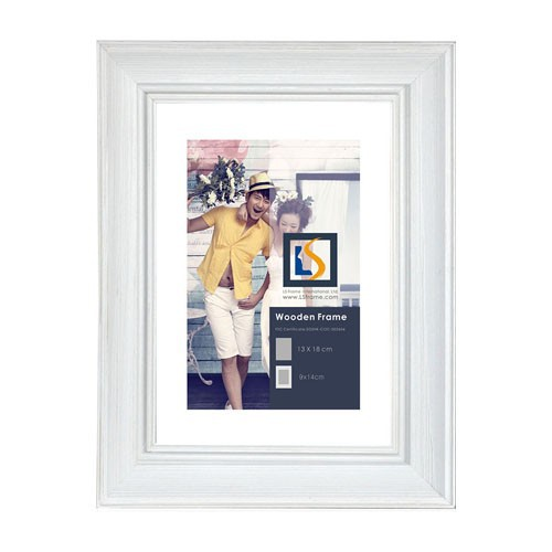 Photo Frame Type and Wood Material White Timber Frame with mat acid free mount board