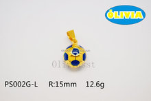 Olivia 2016 New Hot Sell Fashion 316 Stainless Steel Cast Metal Sport Football shape Pendant BLUE