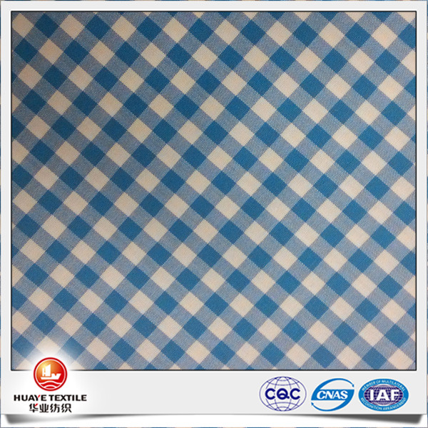 yarn dyed 100% cotton liquid ammonia finish blue and white check poplin fabric