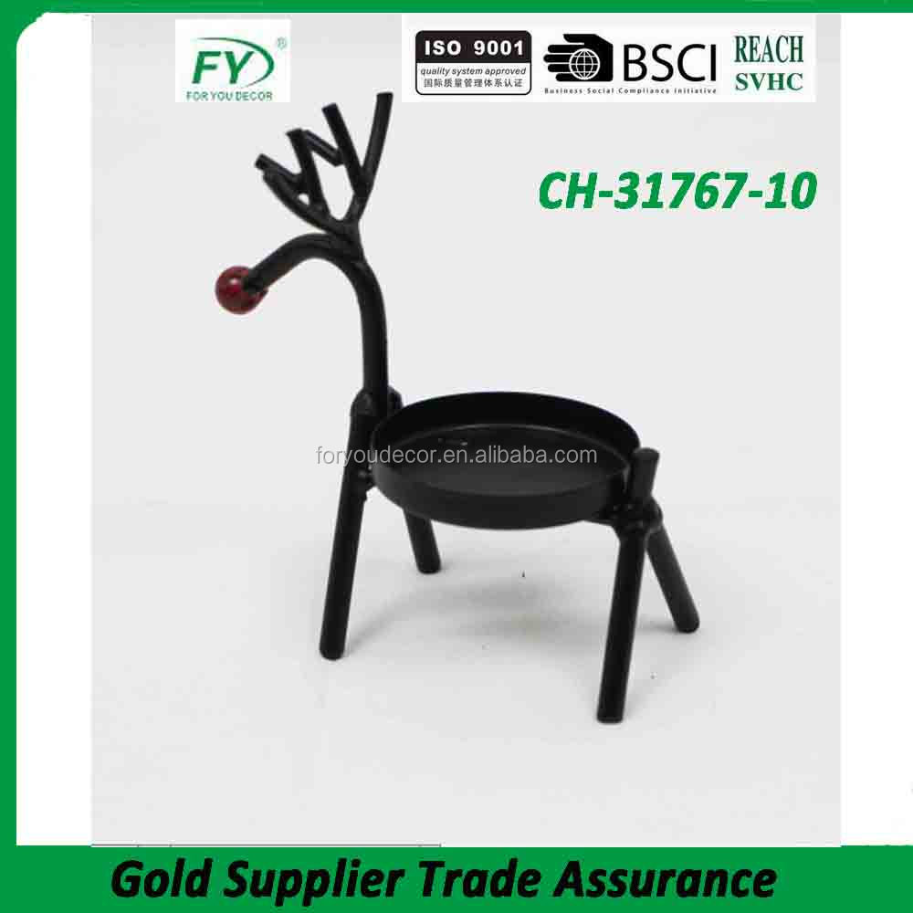 High quality christmas deer table metal candle holder CH-31767-10