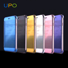[UPO] 2017 Guangzhou Factory Direct Clear View PC Cover Mirror Flip Leather Cases for iPhone 8 8plus