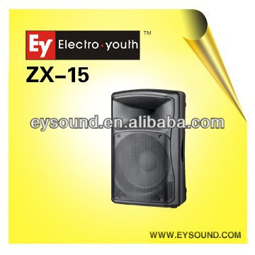 15inch passive /active plastic speaker ZX-15 with USB 350W RMS