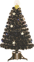 Wholesale High Quality Holiday Decoration Fiber optic Gold Angel Black Ornament Artifical Plastic Christmas Tree