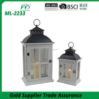 Made in China wholesale wedding favor and indoor decoration cheap Europen style white wood candle lantern with metal to set of 2