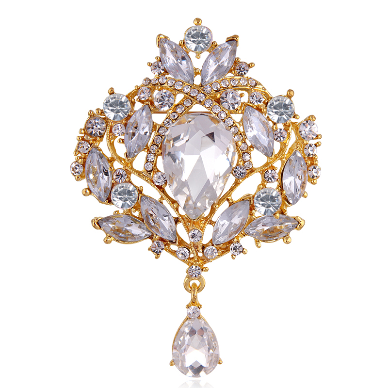Wholesale European style, crown glass corsage high-end luxury accessories, diamond pearl brooch style 2