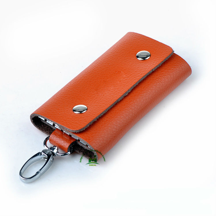 Hot sell nice quality orange genuine leather business key holder for multiple keys dropship paypal