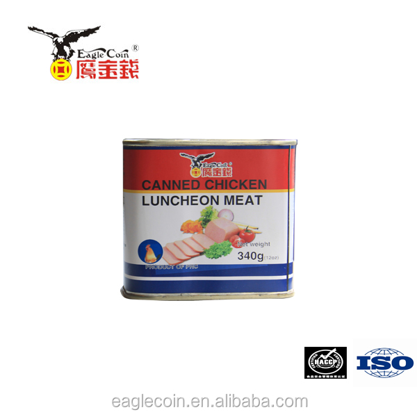 Canned chicken luncheon meat with high protein normal lid healthy food factory