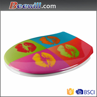 Hydraulic decorative elongated toilet seats and covers