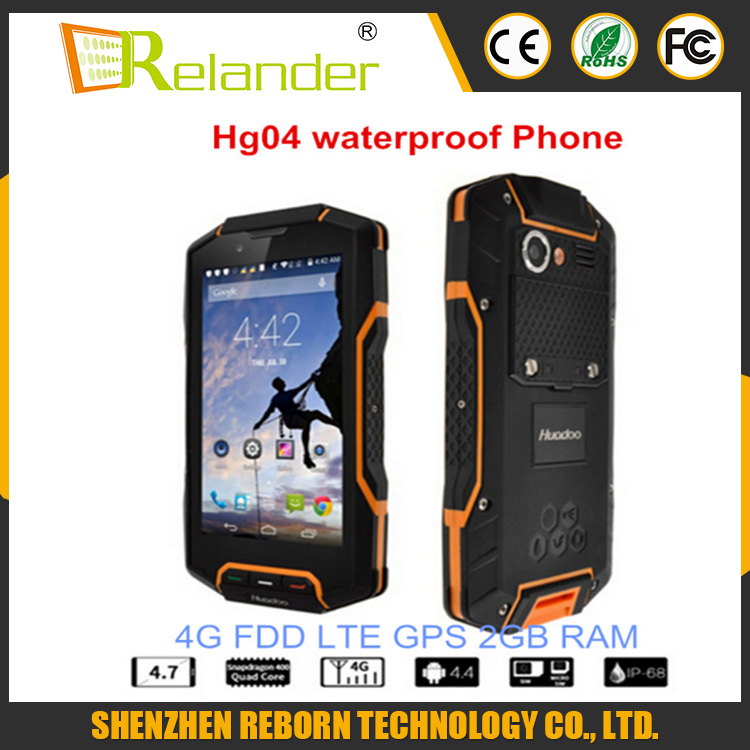 Huadoo HG04 IP68 4G Dual Simcard Waterproof Smart Phone MSM8926 FDD_LTE Outdoor Mobilephone
