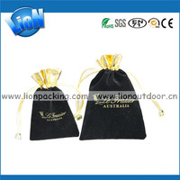 black printed velvet jewelry pouches with top gold