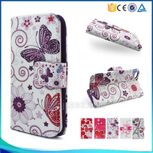 Hot sale purple butterfly pattern pu flip leather case for ipod touch 6