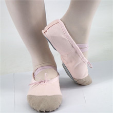 Baby Girls Dance Wear Shoes Pink Leather Toe Canvas Ballet Flat Shoes