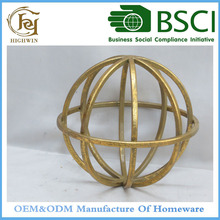 "Highwin Metal Wire Gold Sphere Statue 6.3""D"
