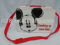 huge rectangular lunch tin box with fabric strap
