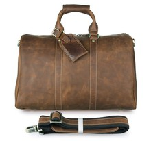 Unisex Crazy Horse Leather Brown Travel Duffle Bag Tote Bag Laptop Bag Dispatch # 7077B