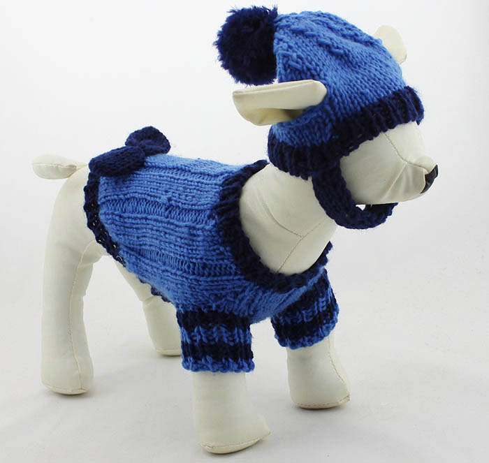 Pet Clothing Small dog clothes Dress with hat Sweater 100% hand made