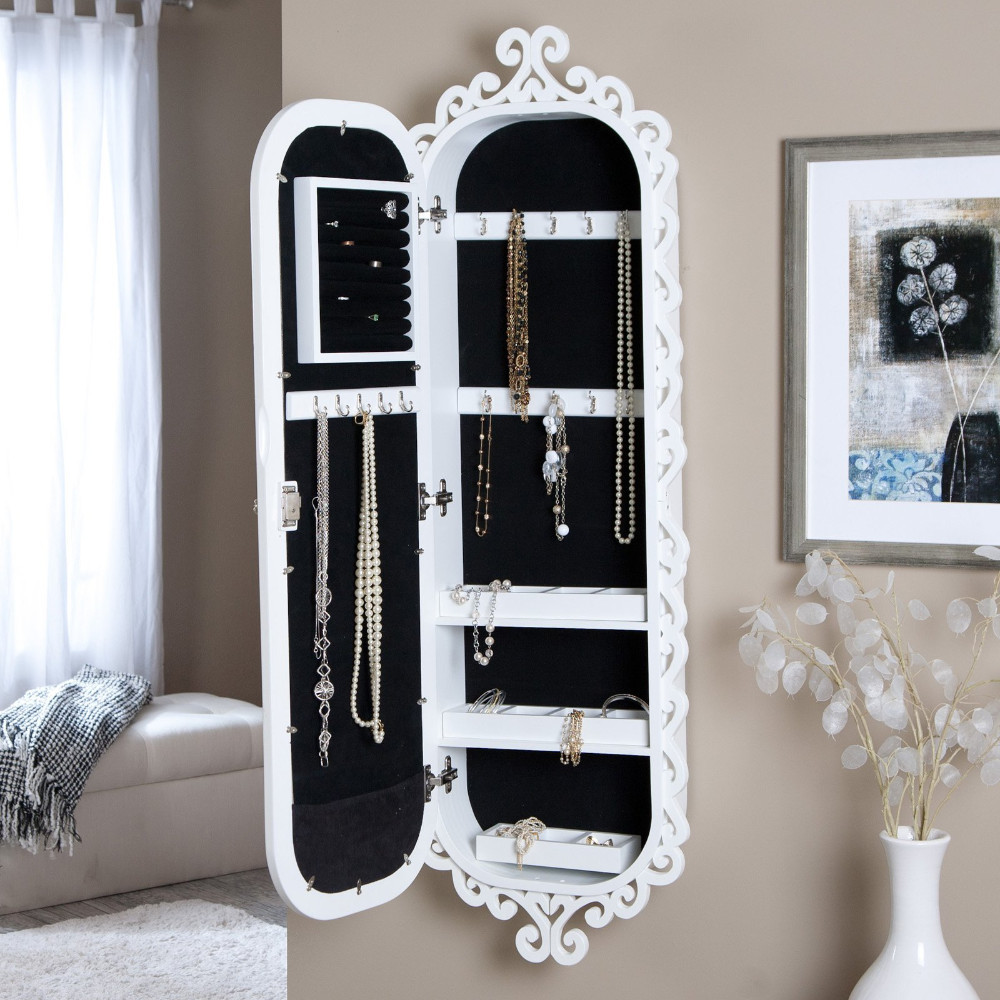 Home store ideas decorating wall recessed jewelry cabinet mirrored armoire hanging