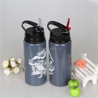 sports outdoor aluminum water bottle screw cap with straw