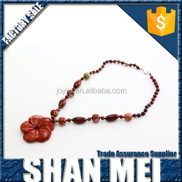 red flower shape pendant red stone gemstone beads necklace for girls