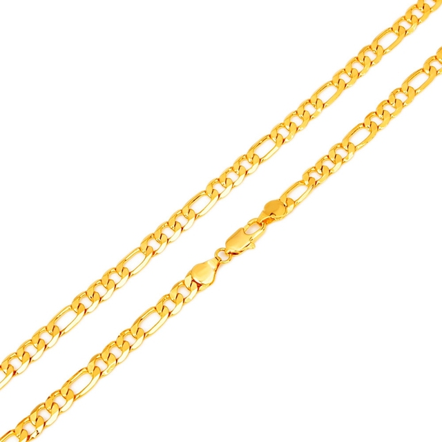 "Hot Sale Men's 18K Yellow Gold Plated Italy Figaro Chain Necklace 24"" 60CM"