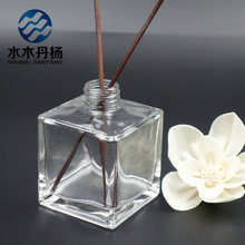 200ml square high quality aroma reed diffuser glass bottle with metal lids