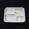 Disposable corn starch 5 compartment food tray with lid