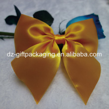 wholesale dark yellow pre-tied ribbon bow for gift packing/self adhesive ribbon bow