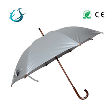 25 inches silver UV protection straight umbrella with wooden handle