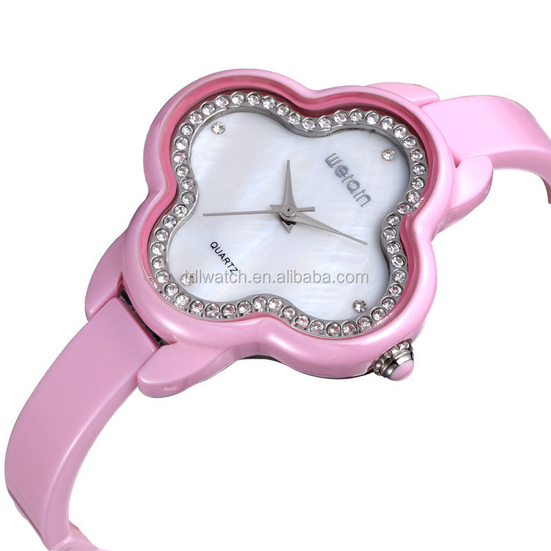 WEIQIN W3225 Water Resistant Sunflower Shape Ceramic Material Stylish Girls Watch