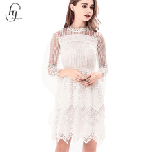 2017 latest hollow out embroidery dress designs white lace midi dress
