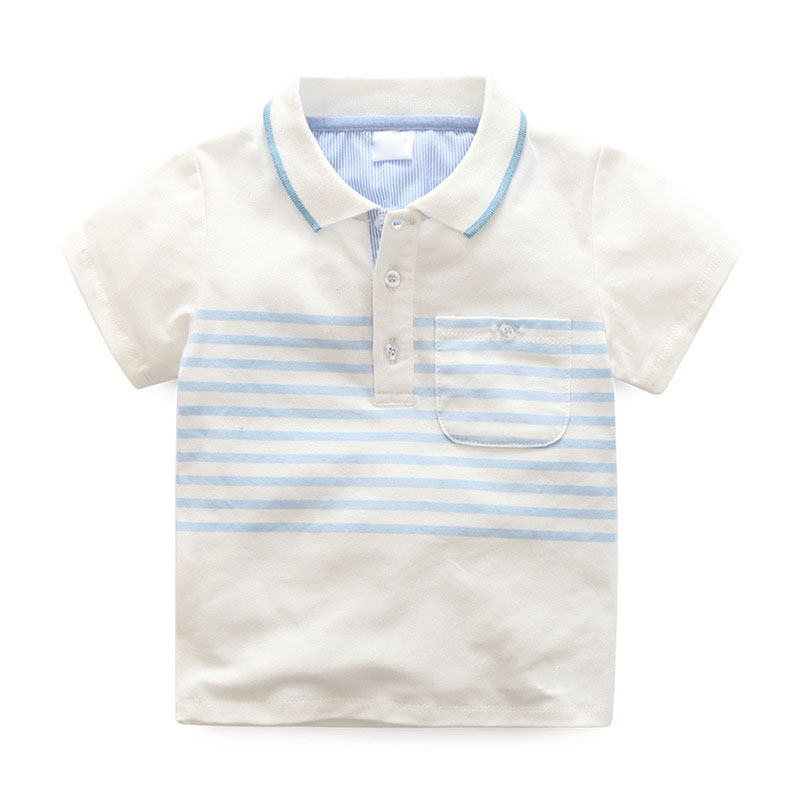 Fashion kids stripe plain blank safty wholesale polo shirt printing custom breathable soft feeling baby clothing logo printed