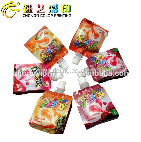 jelly plastic food packaging bag, side gusset plastic bag packing&printing with spout and QS/OEM/ISO certification