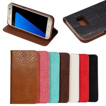 classic magnetic Closure Crocodile Pattern Leather Case for Samsung S7 with One Card Slot