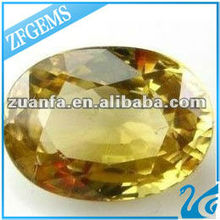 egg shaped synthetic yellow crystal cz gems