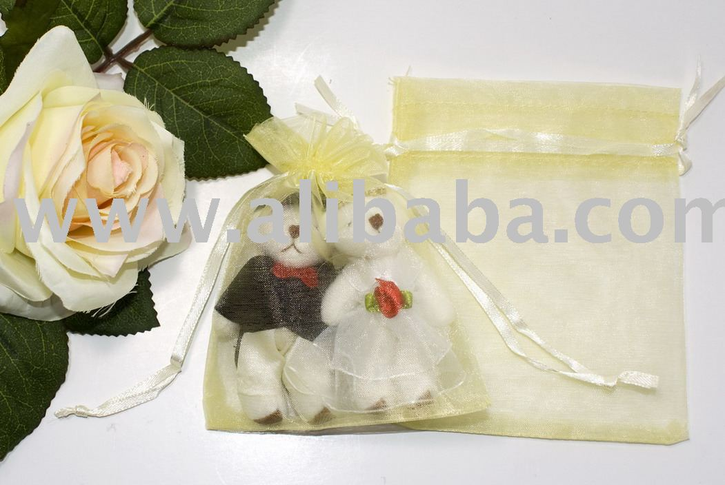 10 x 12cm Gift Bag (Organza) Yellow