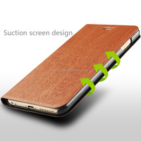 the brown leather cover flip case with phone holder function