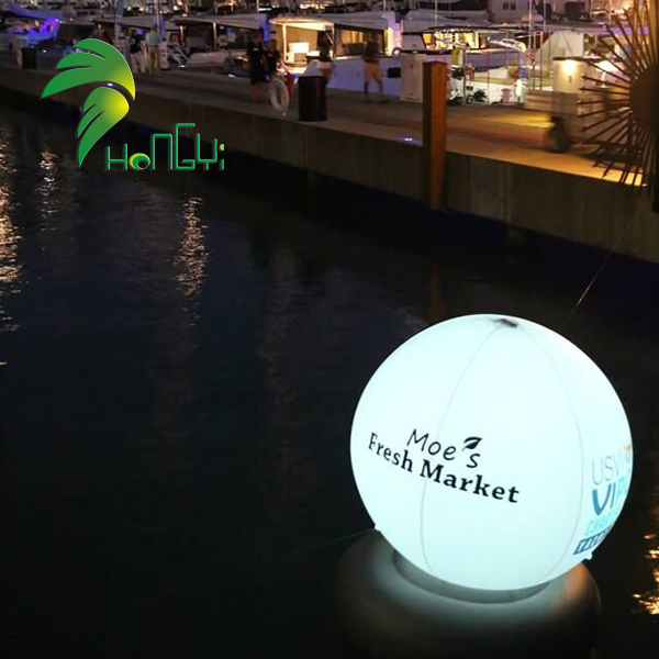 LED Lights Floating Inflatable Water Balloon With Base For Pool Decoration