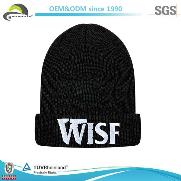 High Quality Custom Made Winter Sport Black Beanies Hats