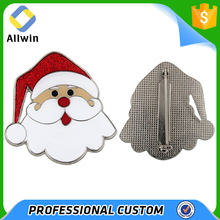 Collection Metal Christmas Santa Face Lapel Pin With Glitter Hat