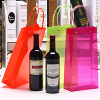 pvc plastic wine bottle gift handle bag/ wedding party wine bottle gift packaging / waterproof wine glass gift bags