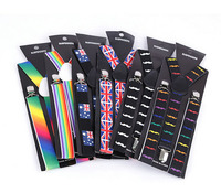 Mens Womens Candy color Clip-on Suspenders Elastic Y-Shape Adjustable Braces Solids