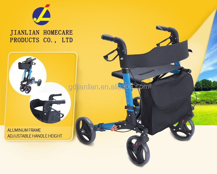 Aluminum lightweight folding four wheels rollator walker for disabled