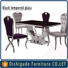 Hot selling Toughened glass korean dining table stainless steel legs