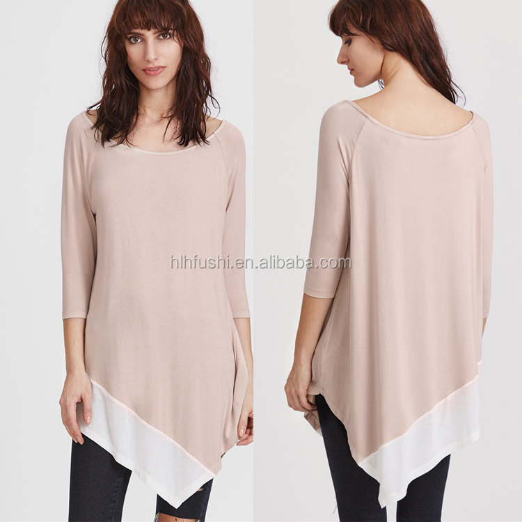 Fashion women knitted long sleeve irregular shape casual ladies blouse / top